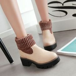 JY Shoes - Knit Panel Block Heel Short Boots