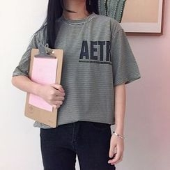 Lemon Bliss - Lettering Pinstriped Elbow Sleeve T-Shirt