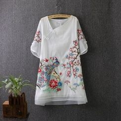 Blue Rose - Embroidered Asymmetric Short-Sleeve Dress