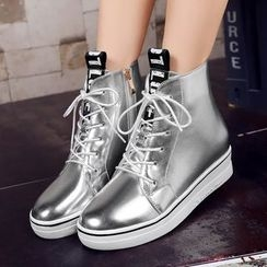 JY Shoes - Lettering Hidden Wedge High-Top Sneakers