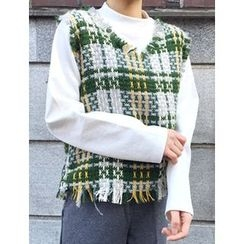 FROMBEGINNING - Fringed Wool Blend Check Knit Vest