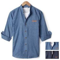 Seoul Homme - 3/4-Sleeve Washed Denim Shirt