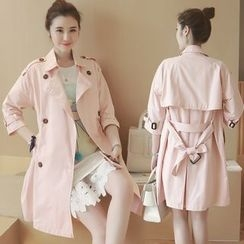 Munai - 3/4-Sleeve Double-Breasted Trench Coat