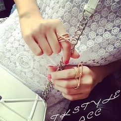 Ticoo - Rhinestone Bow Pattern Double Knuckle Ring