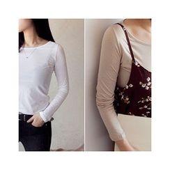 MASoeur - Round-Neck Plain T-Shirt
