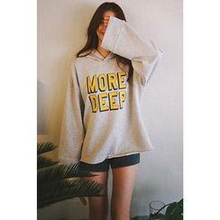 CHERRYKOKO - Hood Wide-Sleeve Lettering Pullover