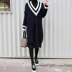 Seoul Fashion - V-Neck Knit Dress
