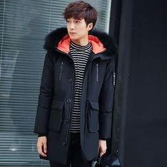 Besto - Furry Collar Long Padded Coat
