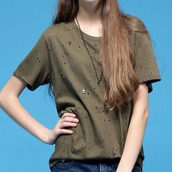 Fashion Street - Studded Short-Sleeve T-Shirt