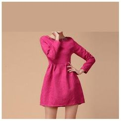 Strawberry Flower - Rhinestone Long-Sleeve Dress