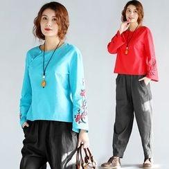 Salisha - Long-Sleeve Embroidered T-Shirt
