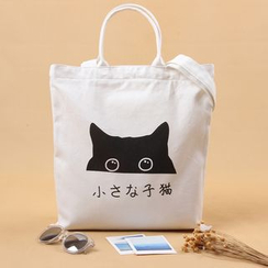 Eastin - Cat Print Canvas Shopper Bag