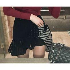 Marlangrouge - Inset Shorts Ruffle-Hem Mini Skirt