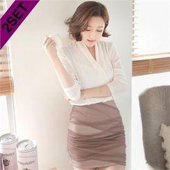 Attrangs - Set: V-Neck Wrap Top + Shirred Miniskirt