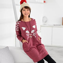 59 Seconds - Long-Sleeve Cat Pattern Pullover Dress
