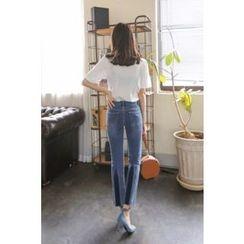 PPGIRL - Contrast-Trim Straight-Cut Jeans