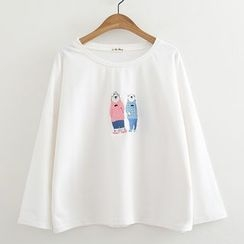 ninna nanna - Polar Bear Embroidered Long-Sleeve T-Shirt