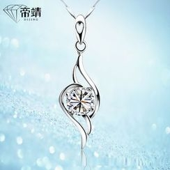 DIJING - Rhinestone Pendant Sterling Silver Necklace