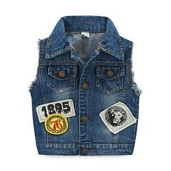 WellKids - Kids Washed Applique Denim Vest
