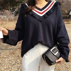 QNIGIRLS - Contrast-Neck Frill-Trim Knit Top