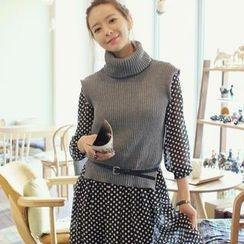 REDOPIN - Set: Turtleneck Knit Vest + Polka Dot Midi Dress