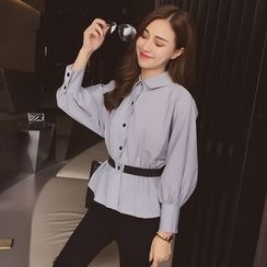 Cocofield - Long-Sleeve Peplum Shirt