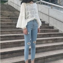 Jeans Kingdom - Ripped Skinny Cropped Jeans