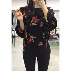 OZNARA - Tie-Cuff Floral Print Blouse