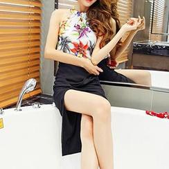 Hazie - Set: Floral Print Halter Top + Slit Pencil Skirt