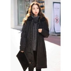 DEEPNY - Fleece-Trim Long Padded Coat