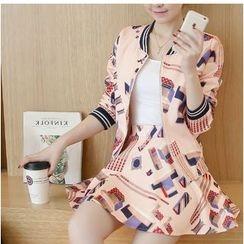 Eighoo - Set: Print Zip Jacket + A-Line Mini Skirt