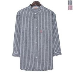 Seoul Homme - 3/4-Sleeve Pinstriped Shirt