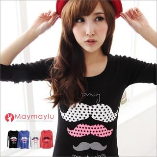 Maymaylu Dreams - Long-Sleeve Mustache-Print T-Shirt