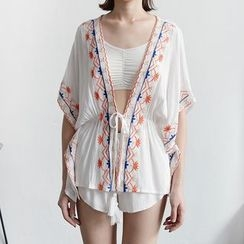 Tansy - Embroidered Tasseled Tie Waist Cover-Up