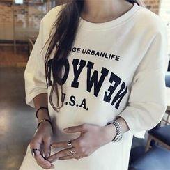 NANING9 - Lettering Brushed Fleece-Lined T-Shirt