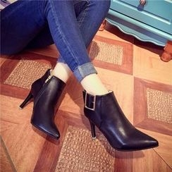 Yoflap - Buckled Pointed Heeled Ankle Boots
