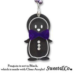 Sweet & Co. - Bowtie Penguin with Violet Pearl Silver Long Necklace