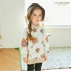 LILIPURRI - Girls Floral Print Faux-Fur Trim Top