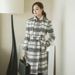 ode' - Check Trench Coat With Belt