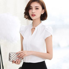 Cottony - Cap Sleeve Chiffon Blouse