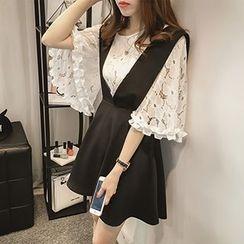 Little V - Set: 3/4-Sleeve Lace Top + V-neck Jumper Skirt