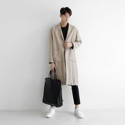 Seoul Homme - Single-Breasted Long Trench Coat