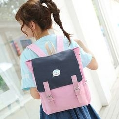 Youme - 兩件套裝: 撞色背包 + 鉛筆袋