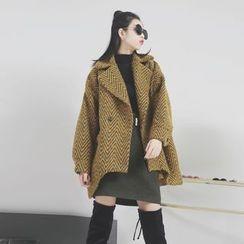 Sonne - 西装领波纹加厚呢大衣
