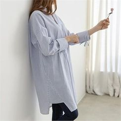 PEPER - Ribbon-Sleeve Striped Long Shirt