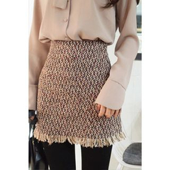CHERRYKOKO - Fringe-Hem Tweed Mini Skirt