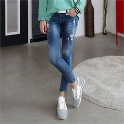 CHICFOX - Distressed Washed Skinny Jeans
