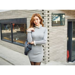 UUZONE - Contrast Frill-Edge Rib-Knit Bodycon Dress