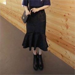 QNIGIRLS - Ruffle-Hem Midi Skirt