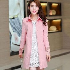 Flower Creek - Lace-Sleeve Panel Plain Trench Coat